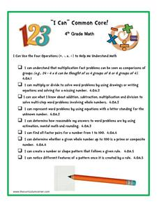 """I Can"" Common Core! 4th Grade Math Printables & Template"