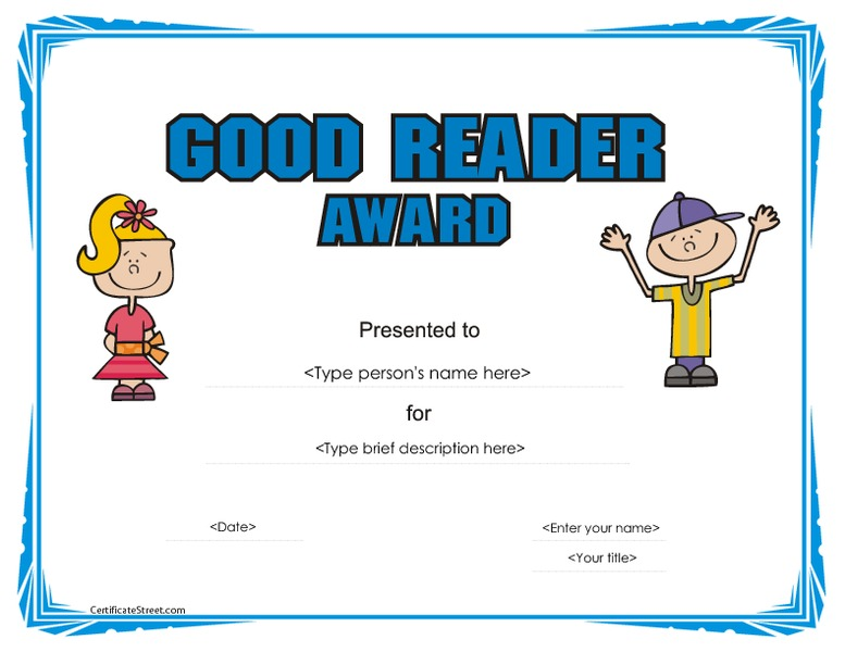 photo regarding Free Printable Reading Certificates identify Very good Reader Award Certification Printables Template for