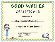 Good Writer Award Certificate Printables & Template