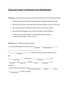 Conjunctions and Interjection Worksheet Worksheet