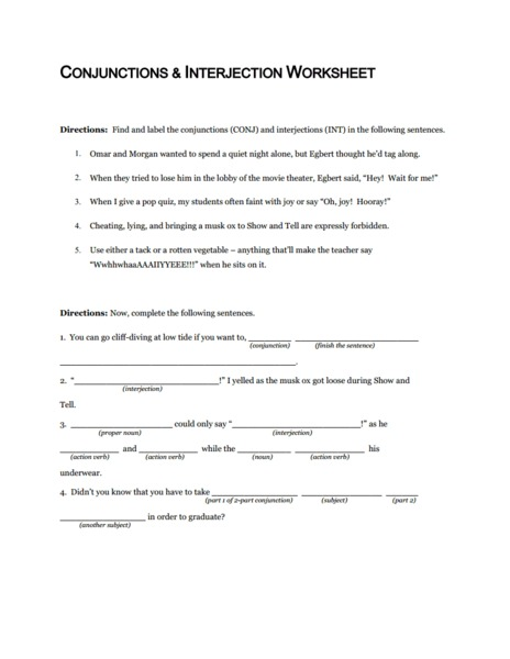 Worksheets Interjection Worksheets conjunctions and interjection worksheet 5th 10th grade lesson planet