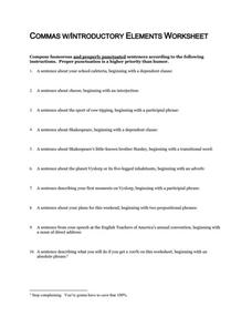 Commas with Introductory Elements Worksheet Worksheet