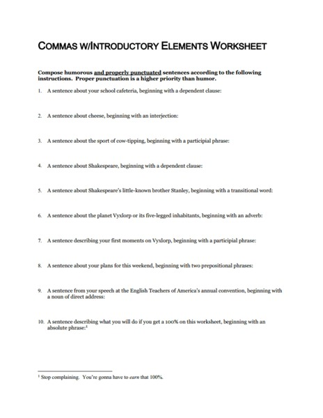Introductory Commas Worksheet: Commas with Introductory Elements Worksheet 6th   11th Grade    ,