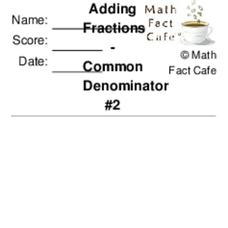 Fractions - Common Denominator #2 Worksheet