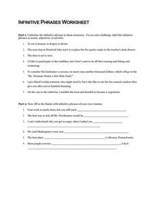 Infinitive Phrases Worksheet Worksheet for 6th - 10th Grade   Lesson ...