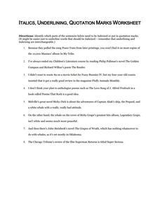 italics underlining quotation marks worksheet worksheet for 5th 12th grade lesson planet. Black Bedroom Furniture Sets. Home Design Ideas