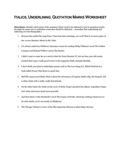 Punctuating Titles Lesson Plans Worksheets Reviewed By Teachers
