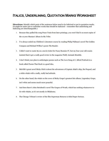 Italics Underlining Quotation Marks Worksheet Worksheet