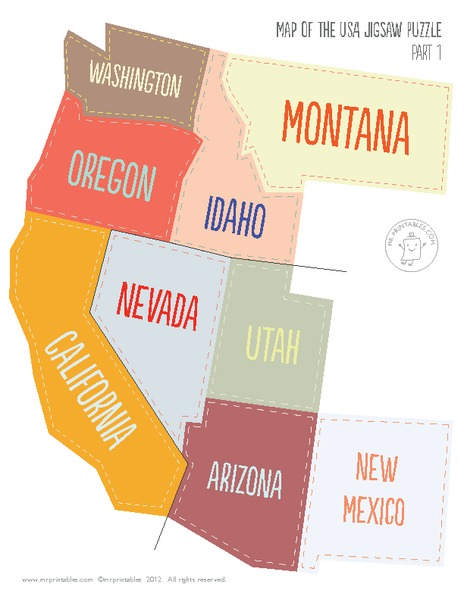 Map of The USA Jigsaw Puzzle Printables & Template