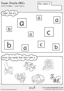 Super Simple ABC's - Lower Case Letters Printables & Template