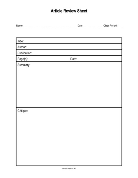 Article Review Sheets Printables & Template