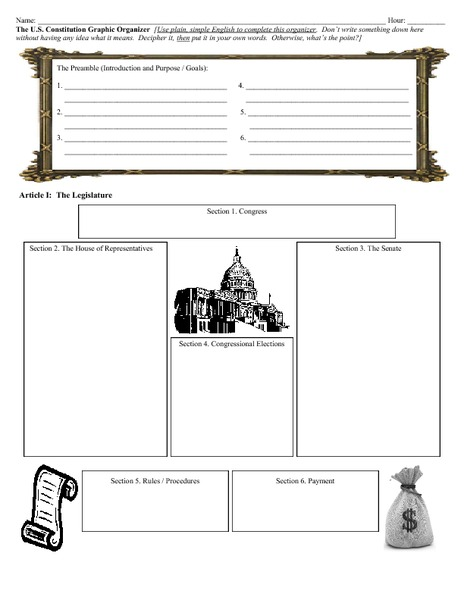 The Us Constitution Graphic Organizer Printables