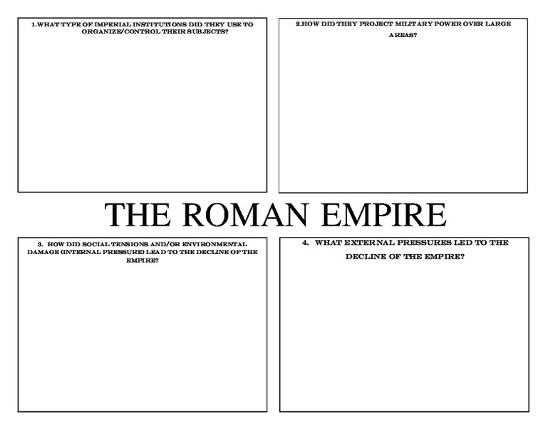 The Roman Empire and Han Dynasty Organizer 7th 10th Grade – Roman Empire Worksheets