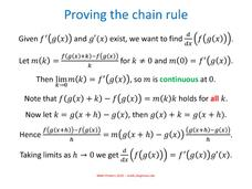 Proving the Chain Rule Handouts & Reference