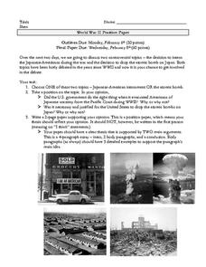 WWII Position Paper Activities & Project