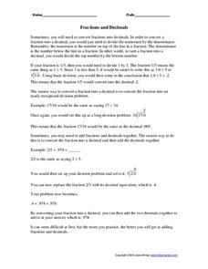 Fractions and Decimals Worksheet