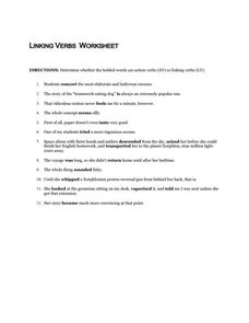 Linking Verbs Worksheet Worksheet