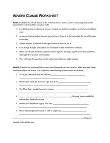 Adverb Clause Worksheet Worksheet