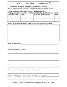 I Can Analyze a Story or History Completely and Carefully Printables & Template