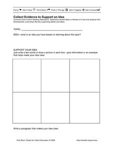 Collect Evidence to Support an Idea Graphic Organizer