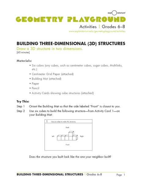 Building Three-Dimensional Structures Lesson Plan