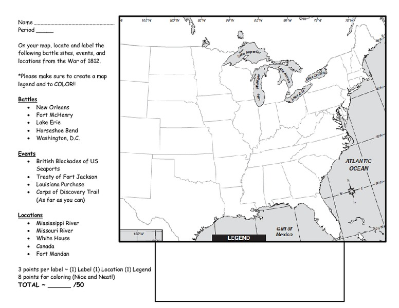 Louisiana Purchase War of 1812 Map Activity 5th 7th Grade – War of 1812 Worksheet