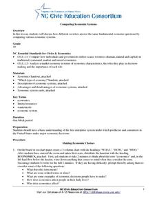 ESL: Compare Economic Systems Worksheet for 8th - 12th Grade ...