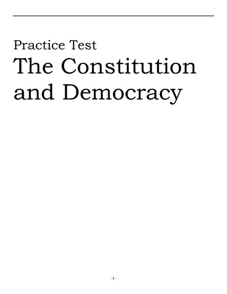 Practice Test: The Constitution and Democracy Worksheet