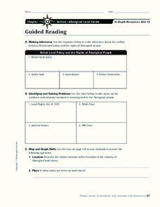 Aboriginal Land Claims Worksheet