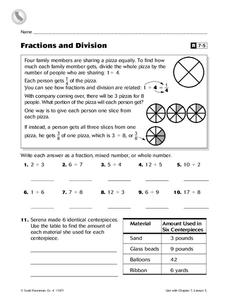 Fractions and Division Worksheet