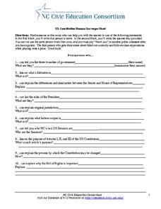 US Constitution Human Scavenger Hunt 10th - 12th Grade Worksheet ...