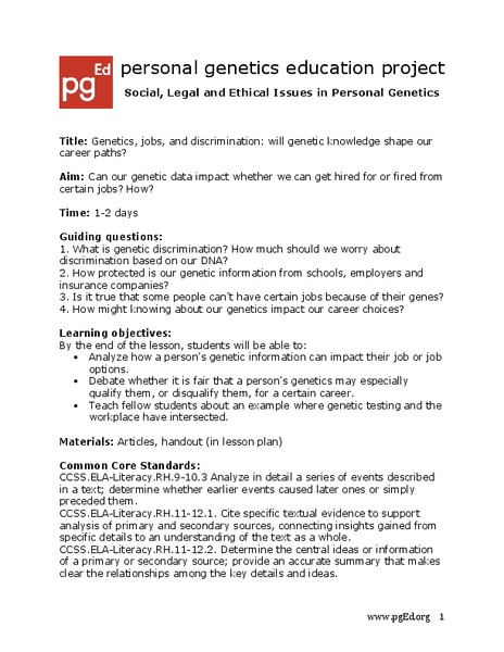 Genetics, Jobs and Your Rights Lesson Plan