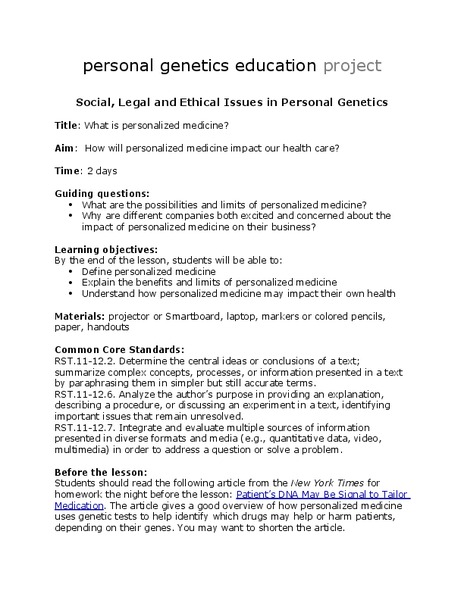 Personalized Medicine Activities & Project