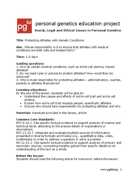 Protecting Athletes with Genetic Conditions: Sickle Cell Trait Lesson Plan
