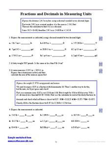 Fractions and Decimals in Measuring Units Worksheet