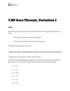 Sore Throats, Variation 1 Activities & Project