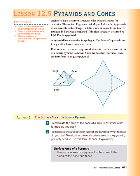Pyramids and Cones Lesson Plan