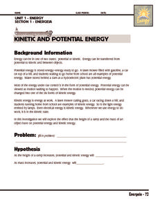 Potential and Kinetic Energy Lesson Plans & Worksheets