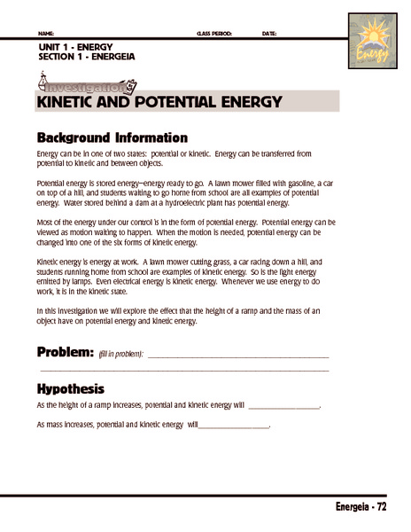 Investigation: Kinetic and Potential Energy 5th - 8th Grade ...