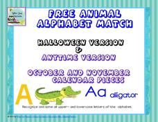 Free Animal Alphabet Match Worksheet