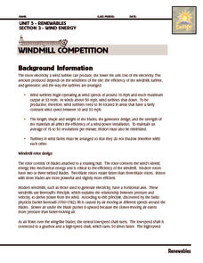 Investigation: Windmill Competition Worksheet