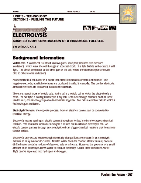 Investigation: Electrolysis Worksheet
