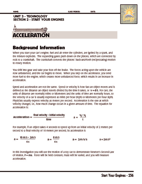 Investigation: Acceleration Worksheet