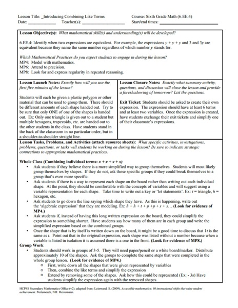 Introducing Combining Like Terms Lesson Plan