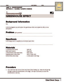 investigation greenhouse effect worksheet for 6th 8th grade lesson planet. Black Bedroom Furniture Sets. Home Design Ideas