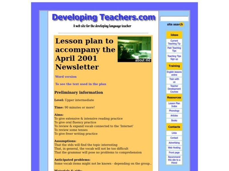 About Me Lesson Plan