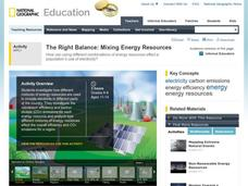 The Right Balance: Mixing Energy Resources Activities & Project