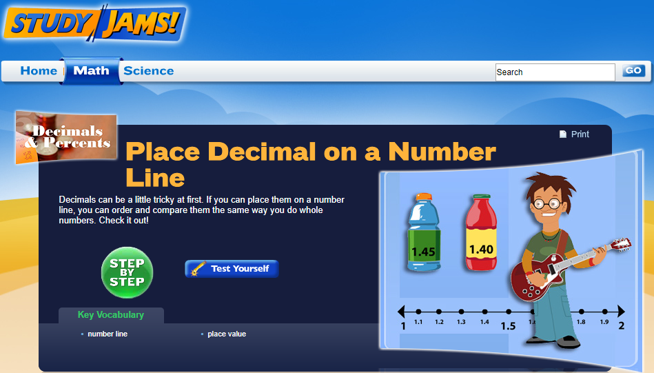 Study Jams! Place Decimal on a Number Line Interactive