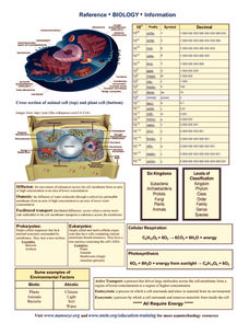 Biology Reference Sheet Printables & Template