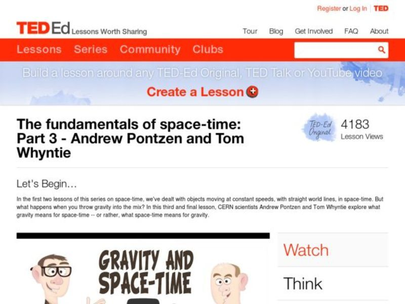 The Fundamentals of Space-Time: Part 3 Lesson Plan